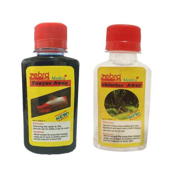 محلول ضد عفونی کننده آب زبرا مدل fn-33 حجم 120 میلی لیتر به همراه محلول ضد کلر