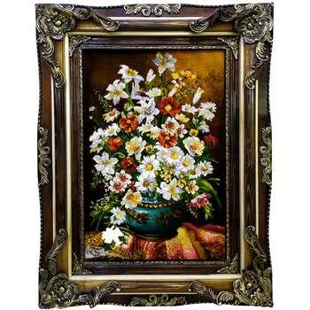 تابلو فرش دستبافت طرح گل و گلدان کد 1073