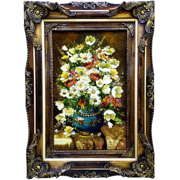 تابلو فرش دستبافت طرح گل و گلدان کد 10106