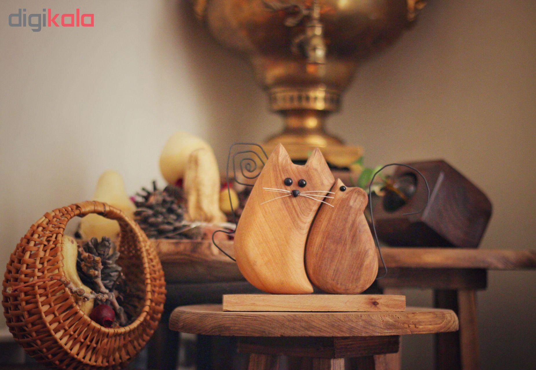 خرید                      مجسمه چوبی طرح موش و گربه کد W14