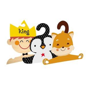 چوب لباسی نوزادی جیک جیک طرح حیوانات و کینگ مجموعه 3 عددی