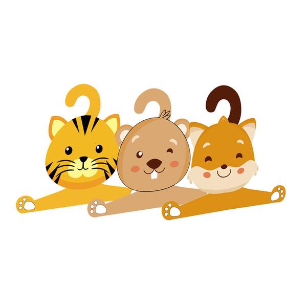 چوب لباسی نوزادی جیک جیک طرح حیوانات جنگل مجموعه 3 عددی
