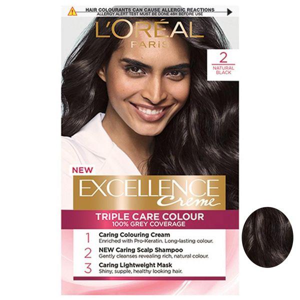 کیت رنگ مو لورآل سری Excellence شماره 2 حجم 48 میلی لیتر رنگ مشکی
