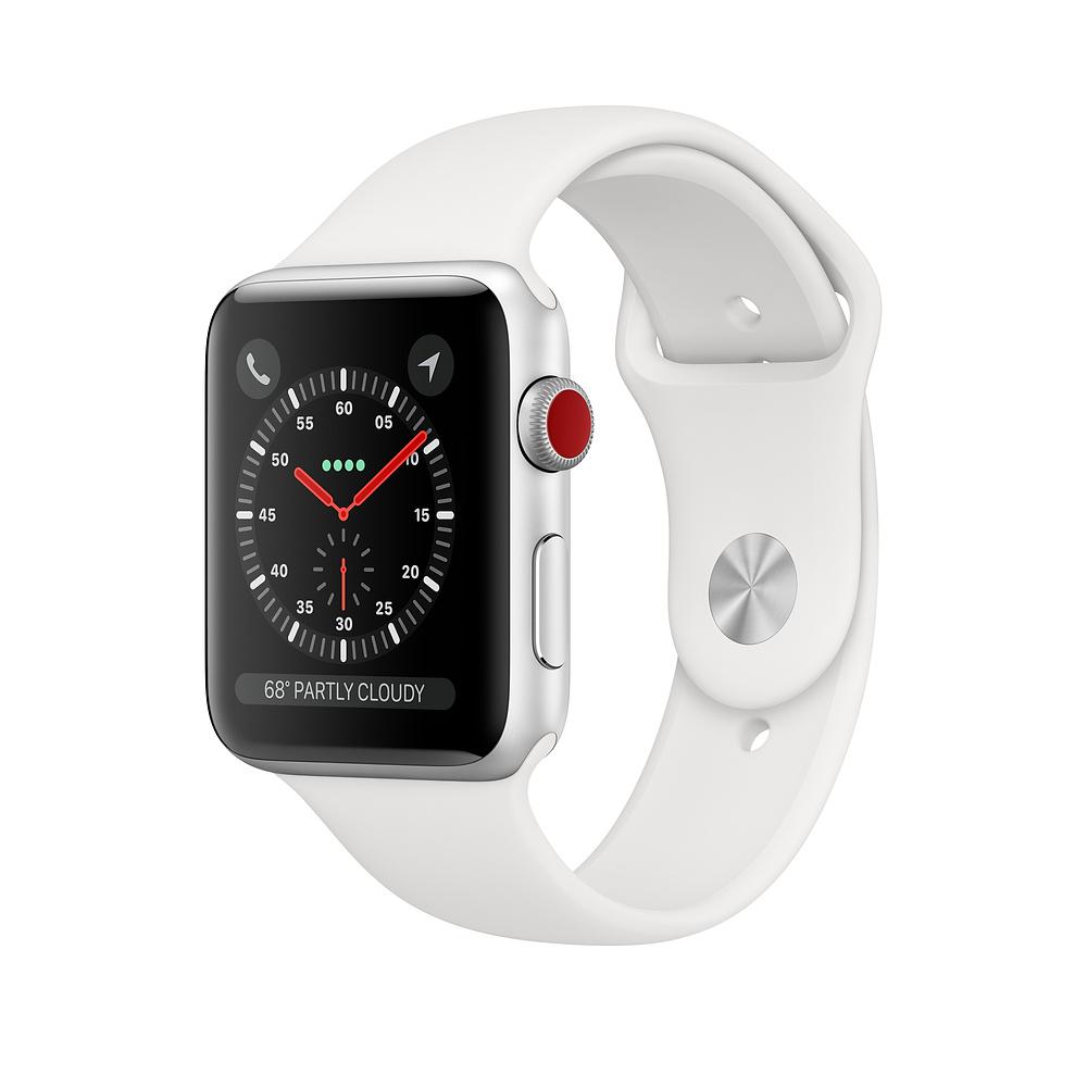 ساعت اپل واچ سری ۳ سلولار مدل ۴۲mm Silver Aluminium Case with White Sport Band