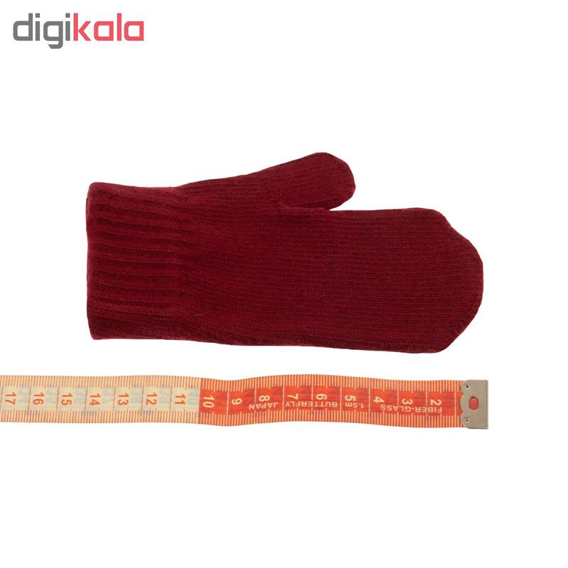 دستکش بافتنی تارتن کد 88002 رنگ قرمز