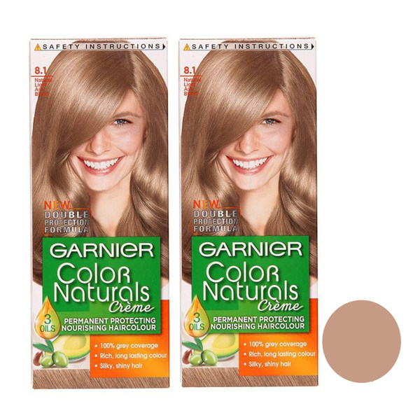 کیت رنگ مو گارنیه شماره 8.1 حجم 40 میلی لیتر رنگ بلوند خاکستری روشن مجموعه 2 عددی