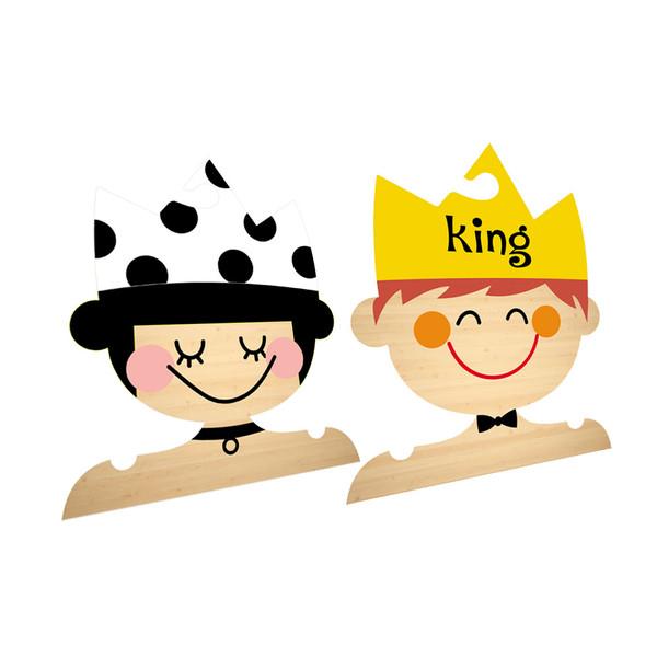 چوب لباسی نوزادی جیک جیک طرح کینگ و پرنسس مجموعه 2 عددی
