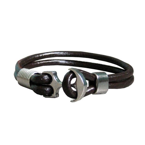 دستبند چرم  طبیعی دانوب طرح لنگر کد 002 سایز M