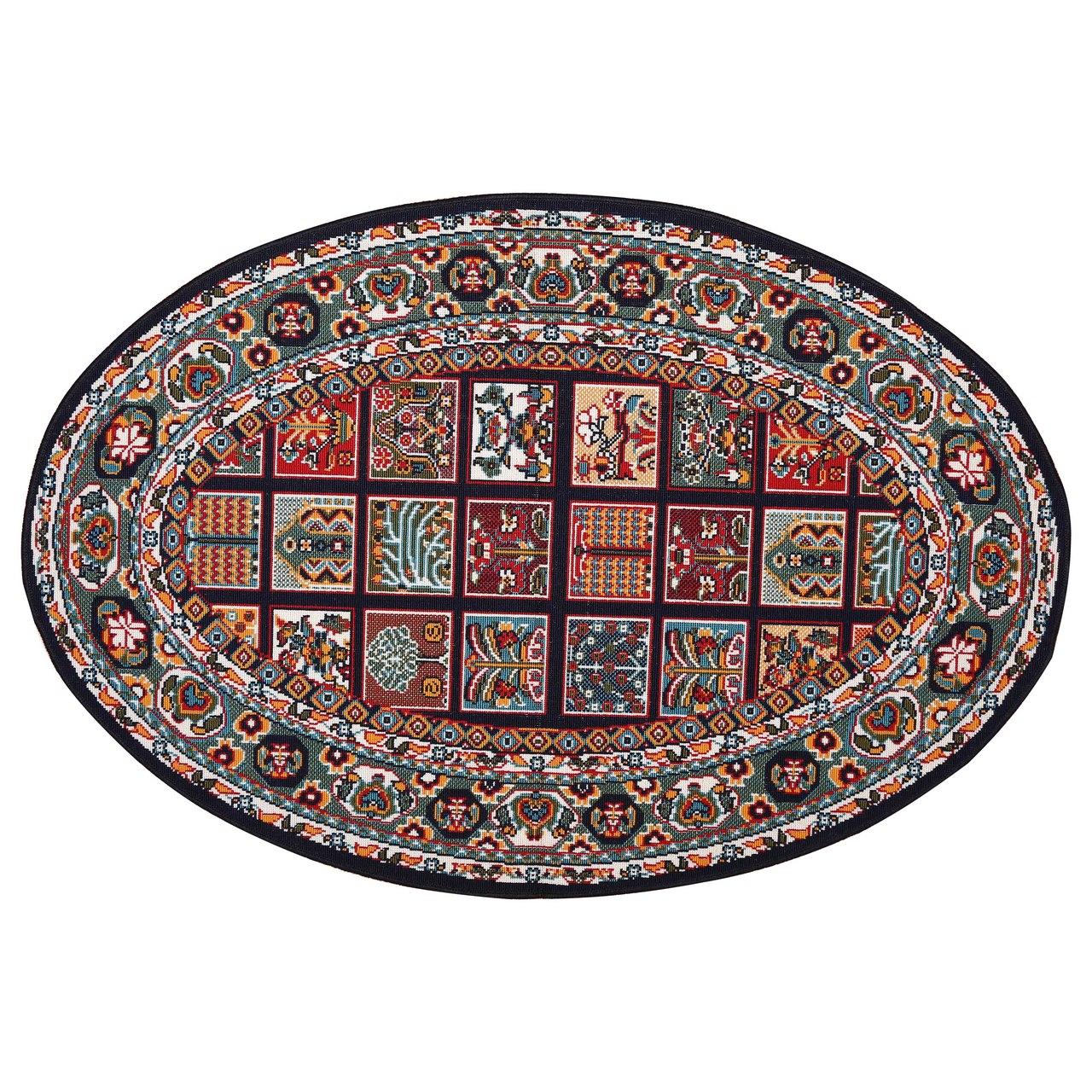 گلیم ماشینی دنیای فرش مدل خشتی سلطنتی