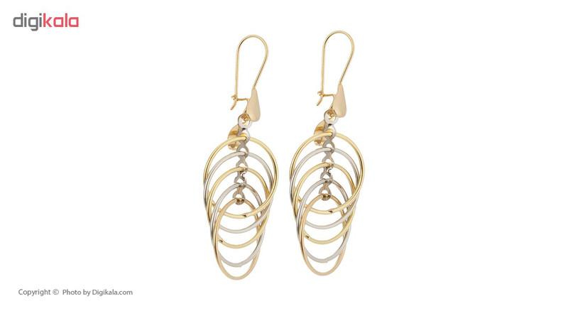 گوشواره طلا 18 عیار زنانه آلند طرح حلقه کد G17