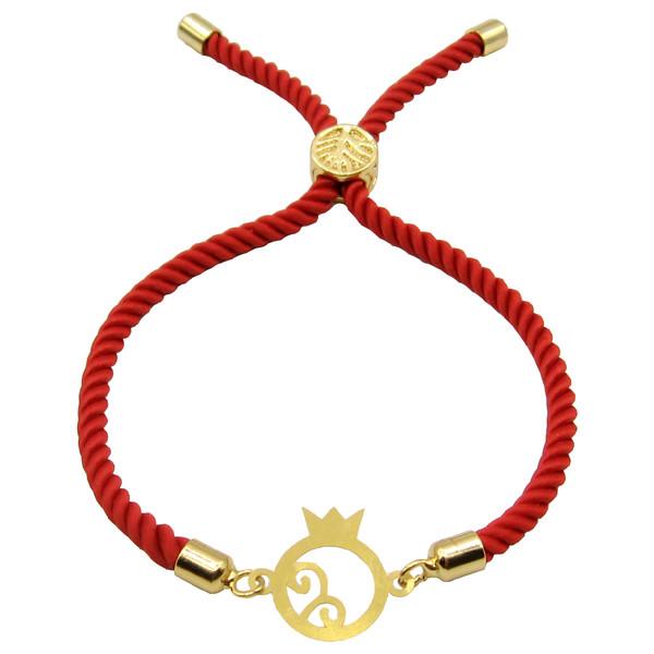دستبند طلا 18 عیار زنانه مانچو طرح انار یلدا کد bfg177