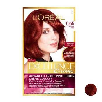 کیت رنگ مو لورآل سری Excellence شماره 6.66 حجم 48 میلی لیتر رنگ شرابی قرمز