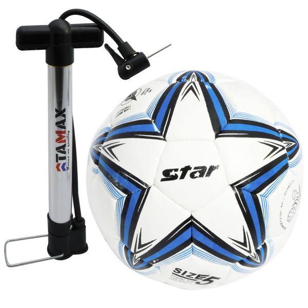 توپ فوتبال سفید آبی  مدل استار همراه با تلمبه سایز 5