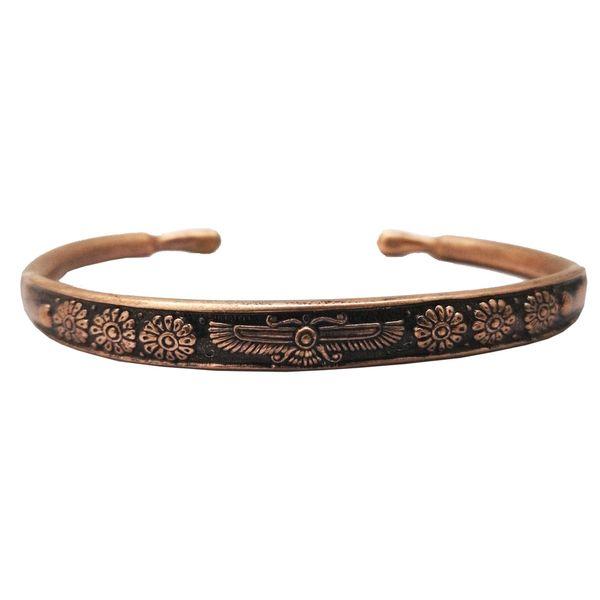 دستبند مسی طرح فروهر مفتولی سایز XS