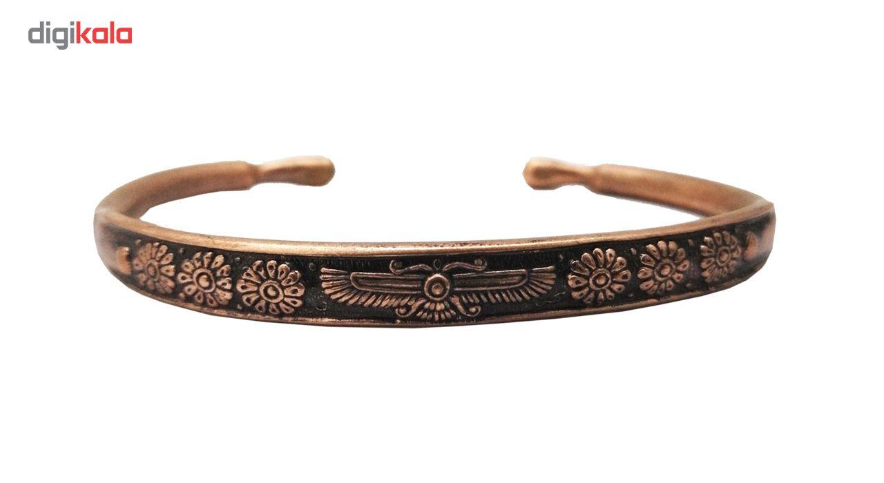 دستبند مسی طرح فروهر مفتولی سایز XS main 1 1