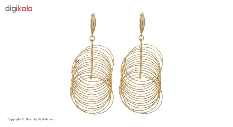 گوشواره طلا 18 عیار زنانه آلند طرح حلقه کد G18