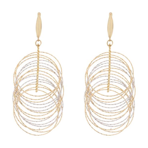 گوشواره طلا 18 عیار زنانه آلند طرح حلقه کد G19