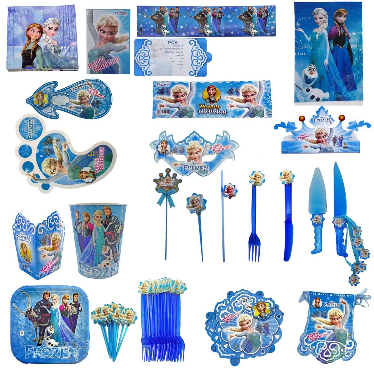پک جشن تولد گالری زیبا باکس مدل تم ملکه یخی Frozen سایز 180×300