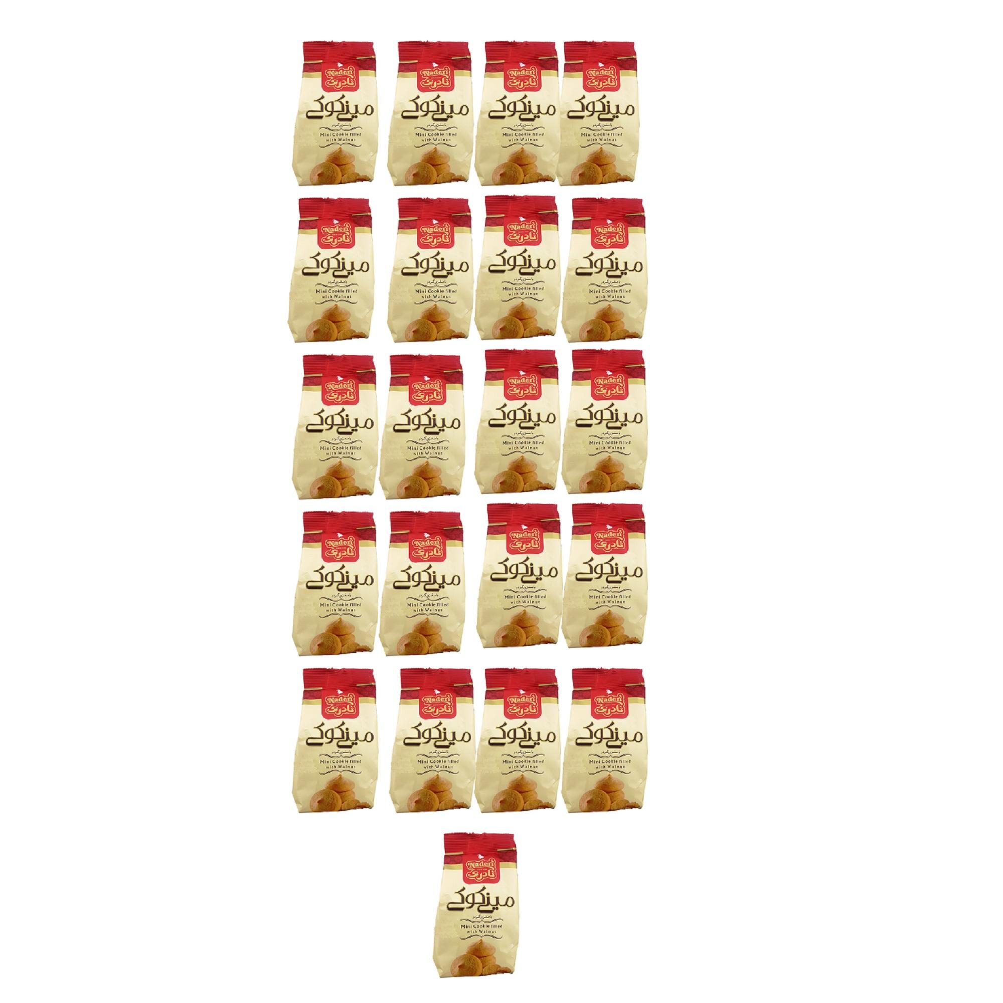 مینی کوکی با مغزی گردو نادری مقدار 105 گرم بسته 21 عددی