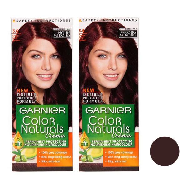 کیت رنگ مو گارنیه شماره 3.6 حجم 40 میلی لیتر رنگ  قهوه ای قرمز تیره مجموعه 2 عددی