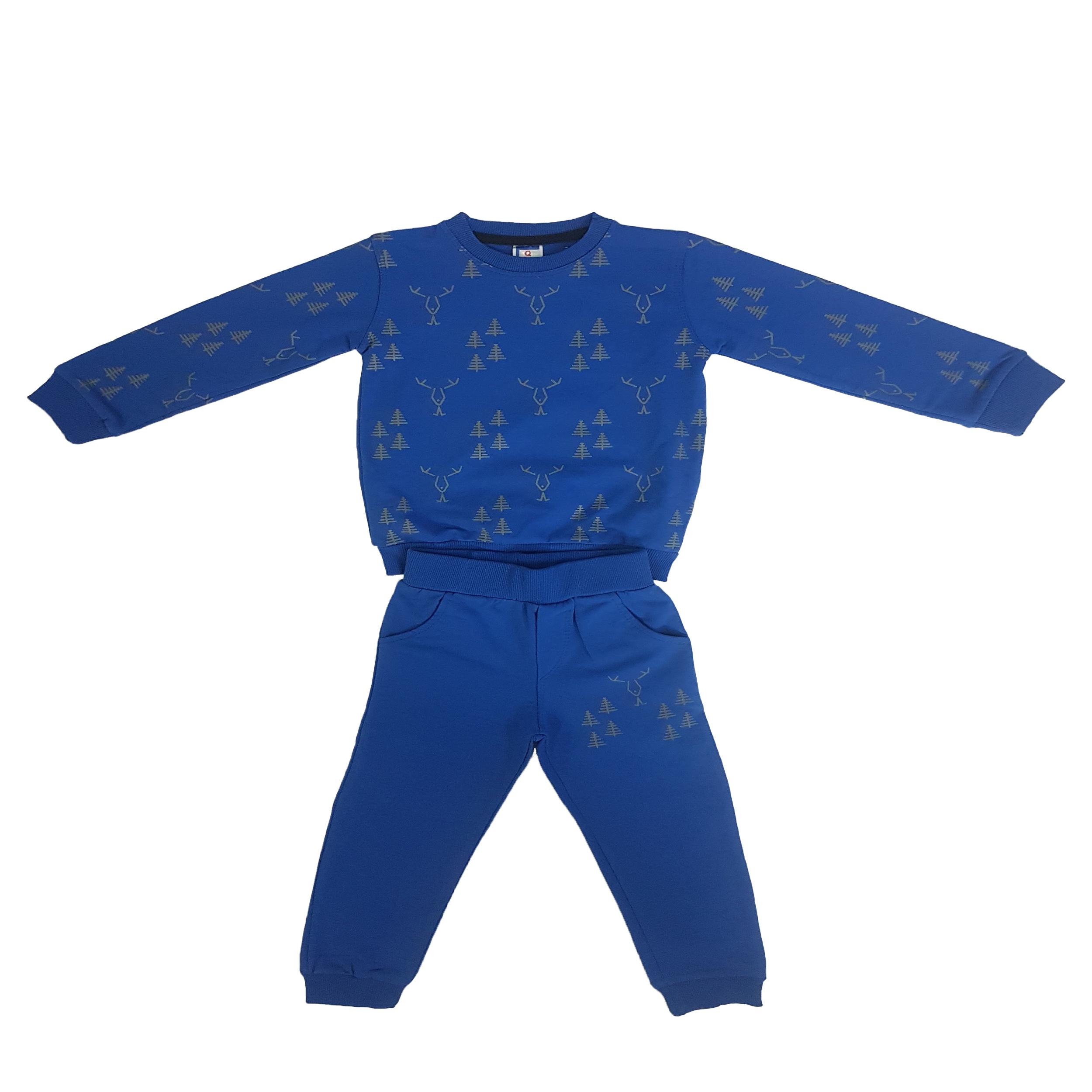 ست سویشرت و شلوار پسرانه طرح گوزن کد 832 رنگ آبی