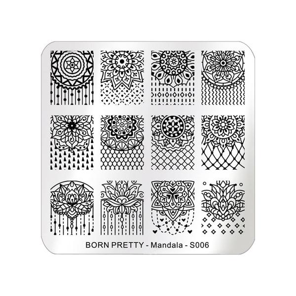 شابلون طراحی ناخن برن پرتی مدل Mandala S006