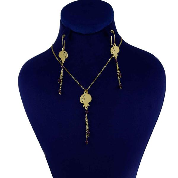نیم ست طلا 18 عیار زنانه کانیار گالری طرح انار کد 14358