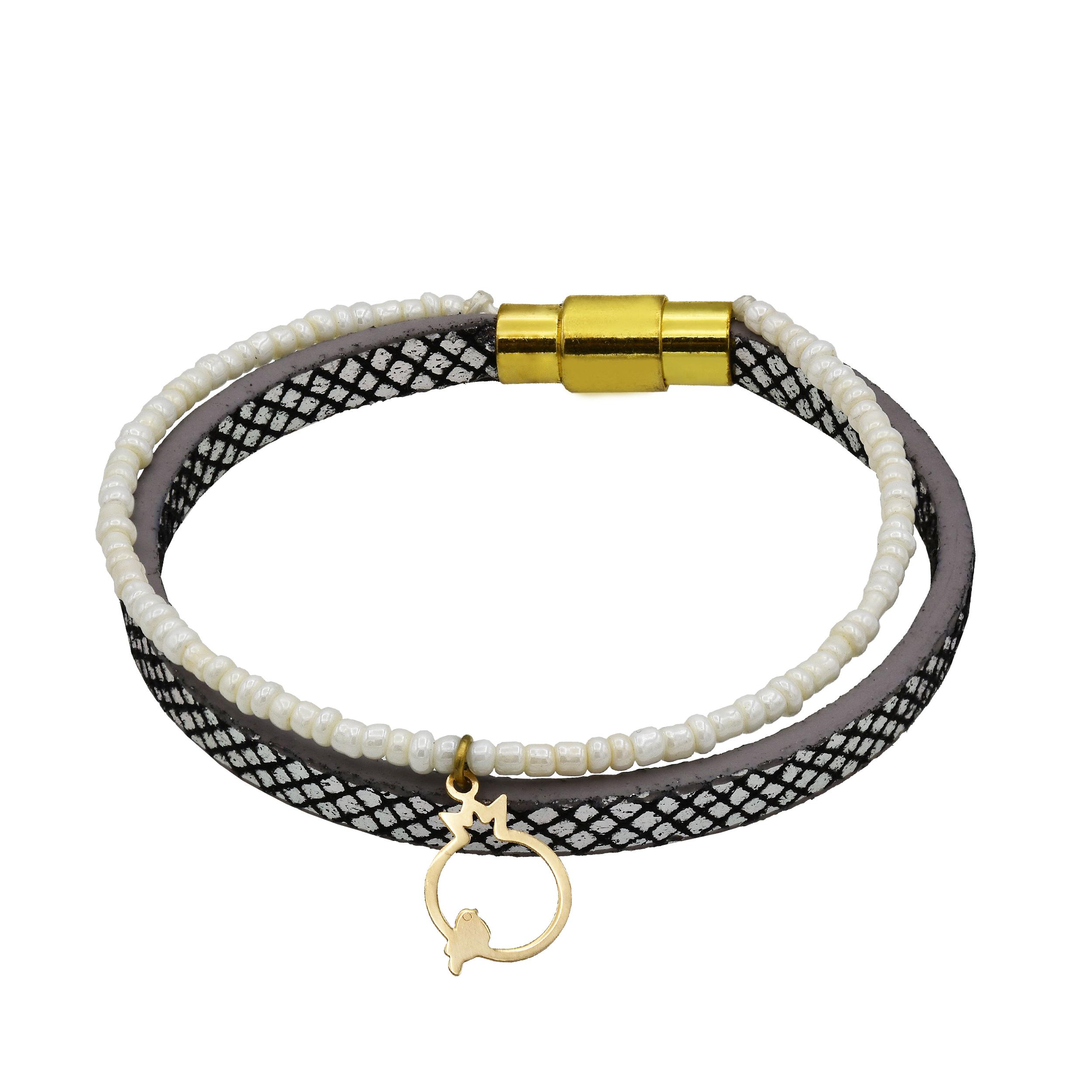 دستبند طلا 18 عیار زنانه آمانژ طرح انار کد 604D3060