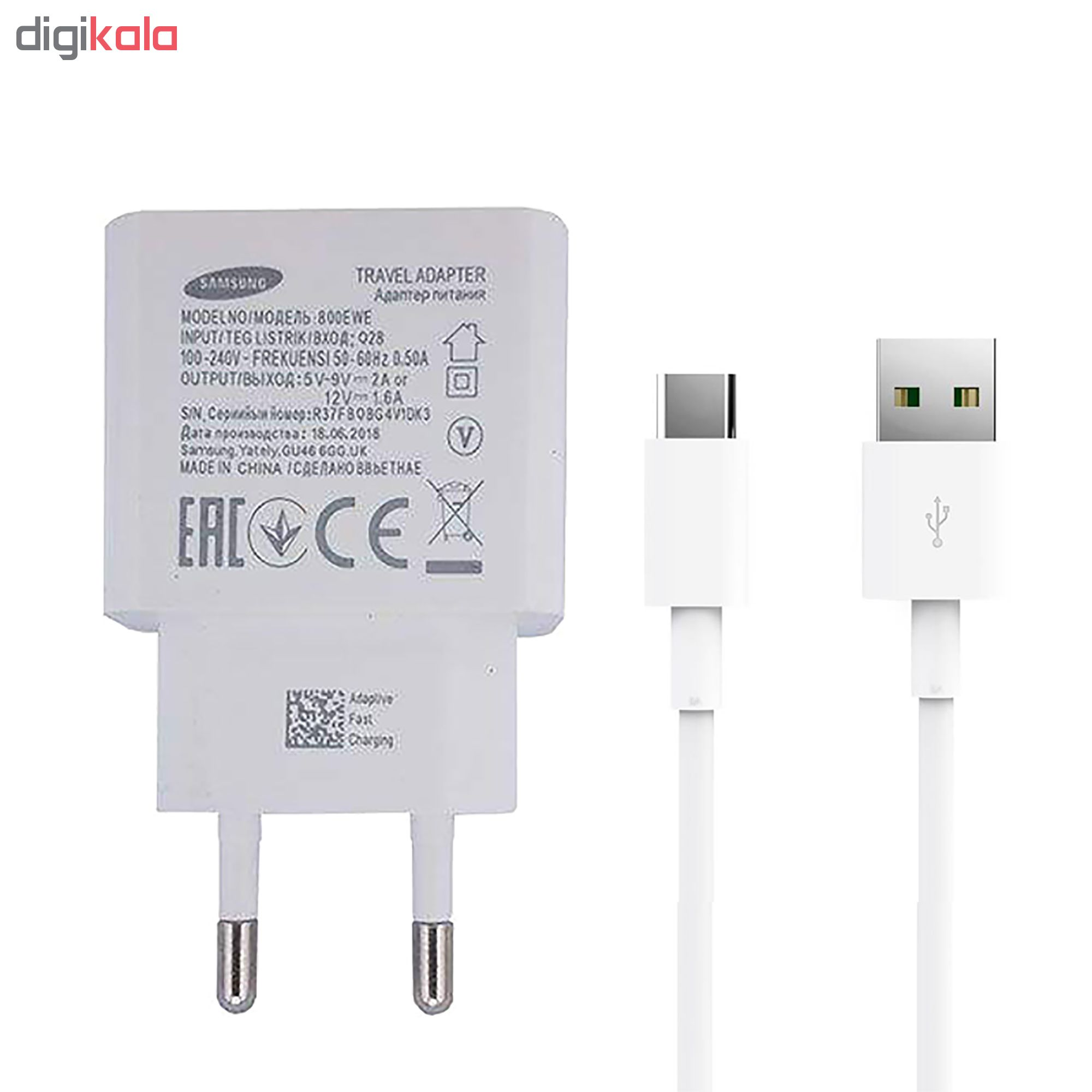 شارژر دیواری مدل 800EWE به همراه کابل تبدیل USB-C                     غیر اصل