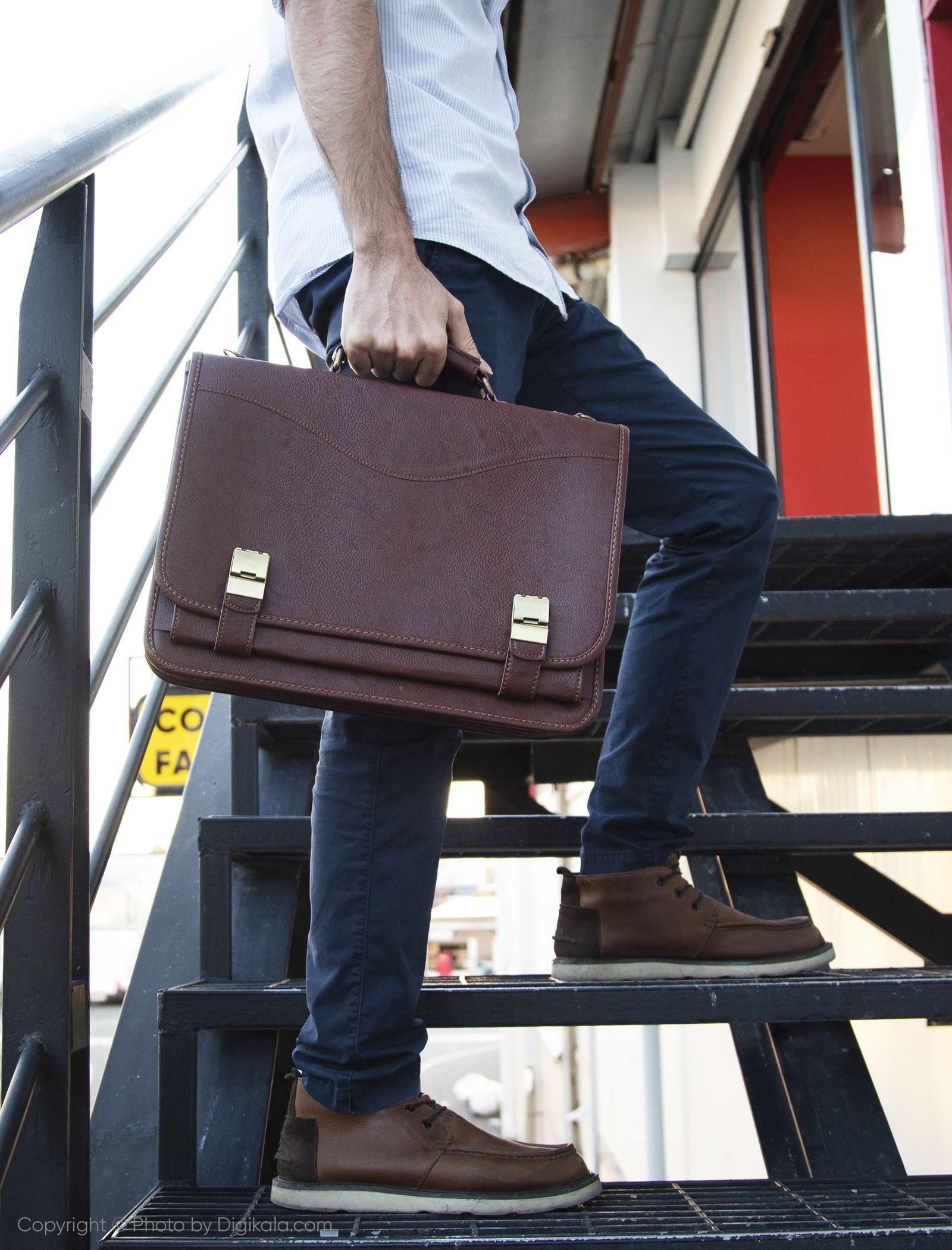 کیف اداری مردانه دلنیا مدل E99 - قهوه ای - 2