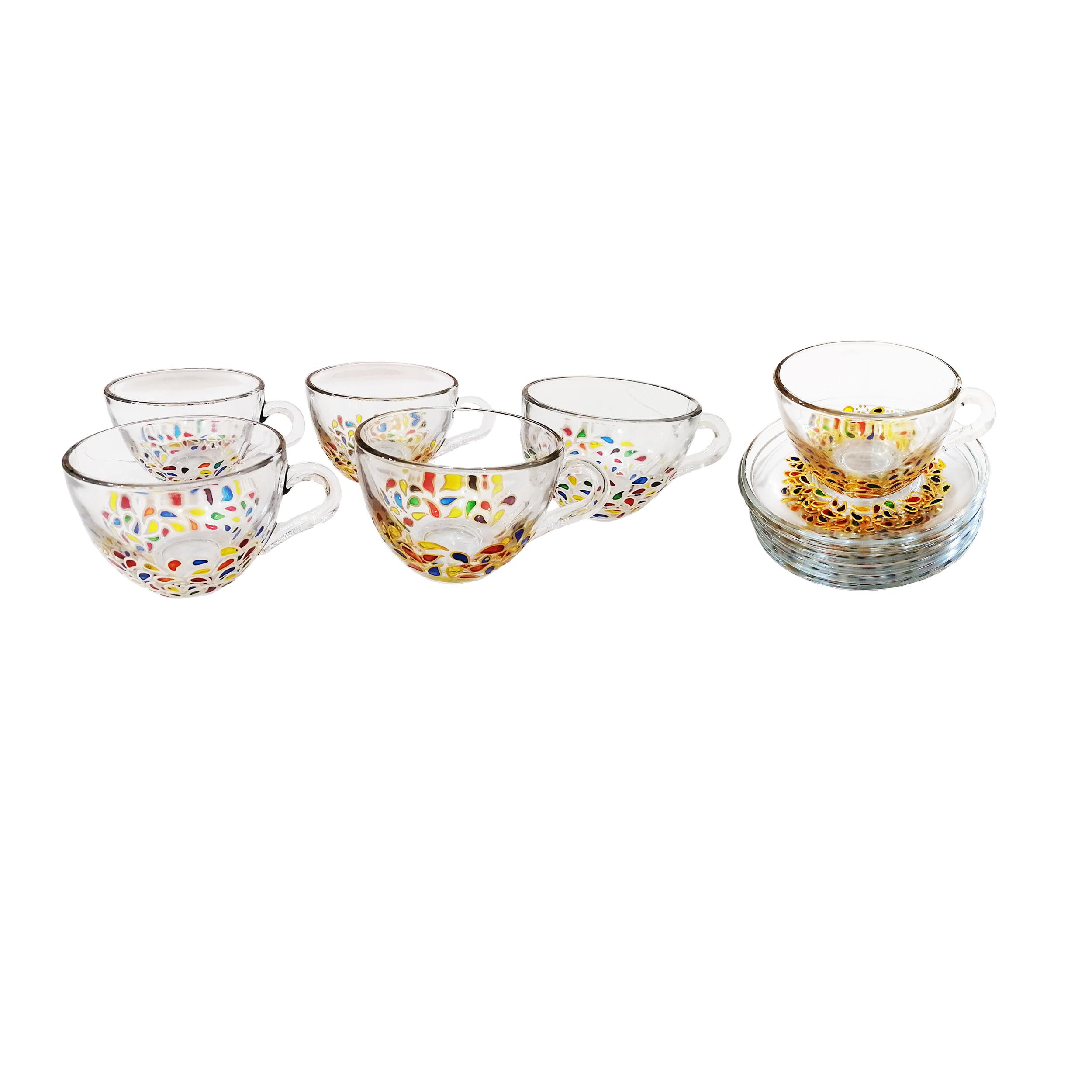 ست فنجان و نعلبکی شیشه ای طرح ترمه