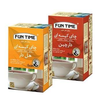 چای کیسه ای هل دار فان تایم بسته 25 عددی به همراه چای کیسه ای با طعم دارچین