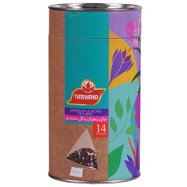 چای زعفران  و گل محمدی تروند بسته 14 عددی