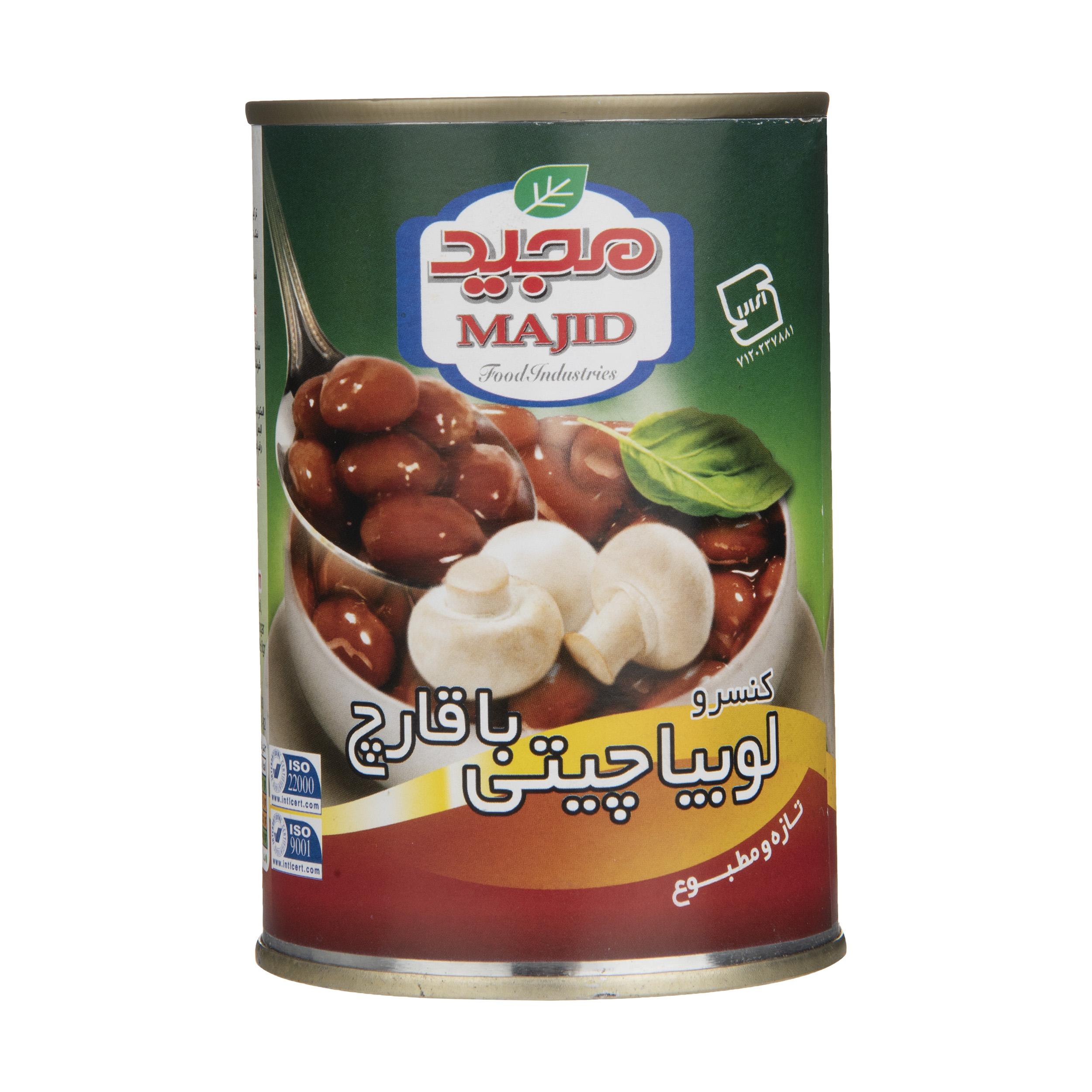 کنسرو خوراک لوبیا چیتی با قارچ مجید - 400 گرم thumb