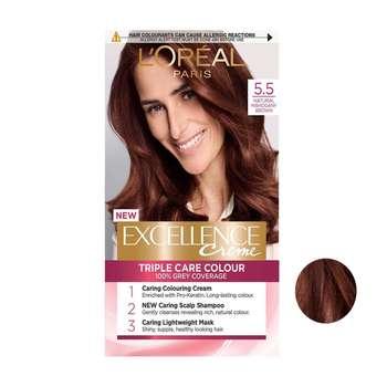کیت رنگ مو لورآل سری Excellence شماره 5.5 حجم 48 میلی لیتر رنگ قهوه ای