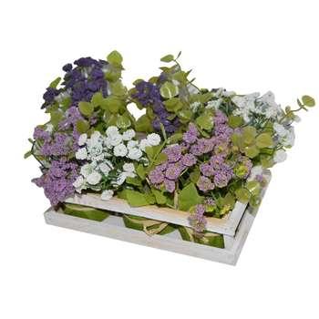 سبد گل به همراه گل مصنوعی مدل 21 مجموعه 6 عددی