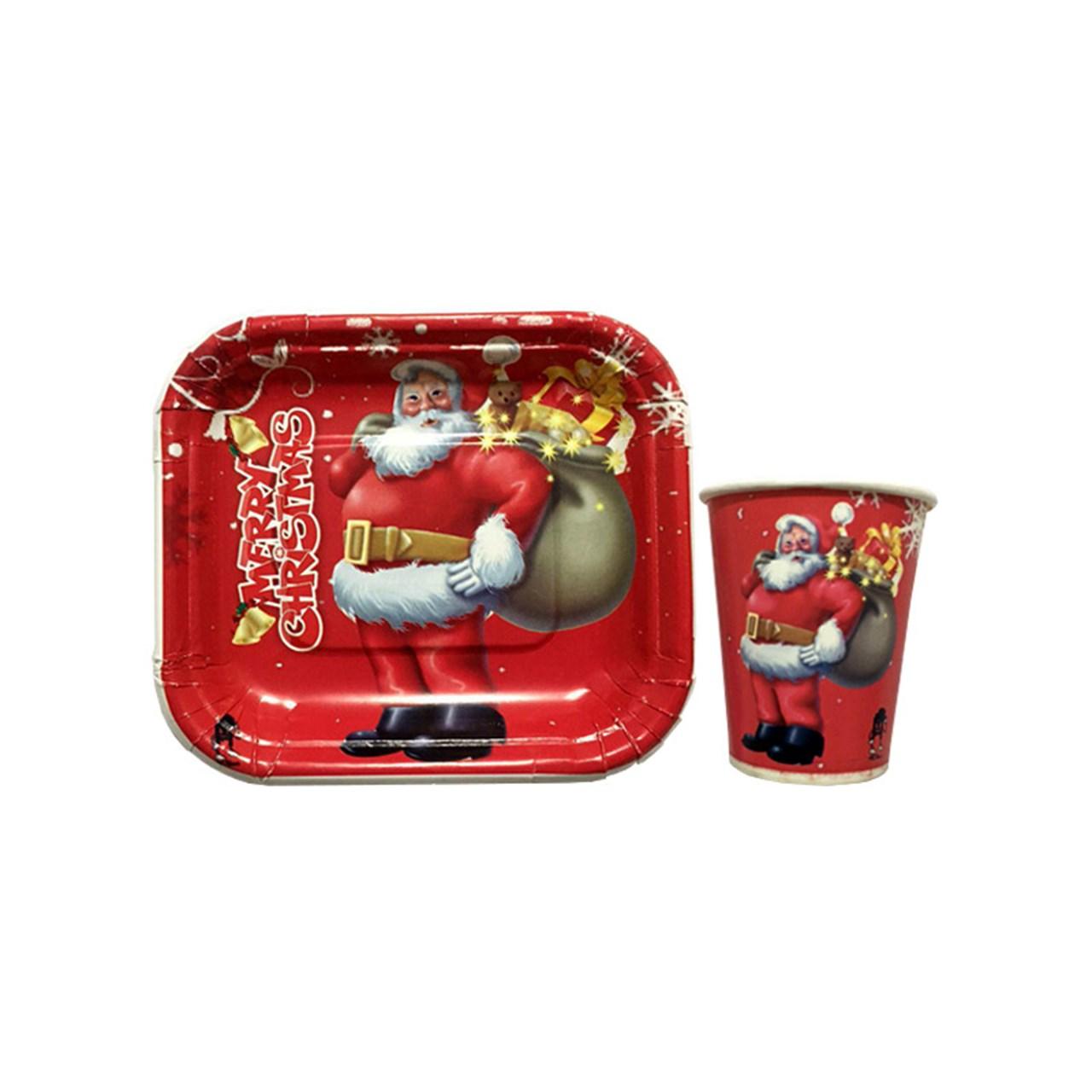 پیش دستی و لیوان یکبار مصرف سورتک طرح بابانوئل مجموعه 40 عددی
