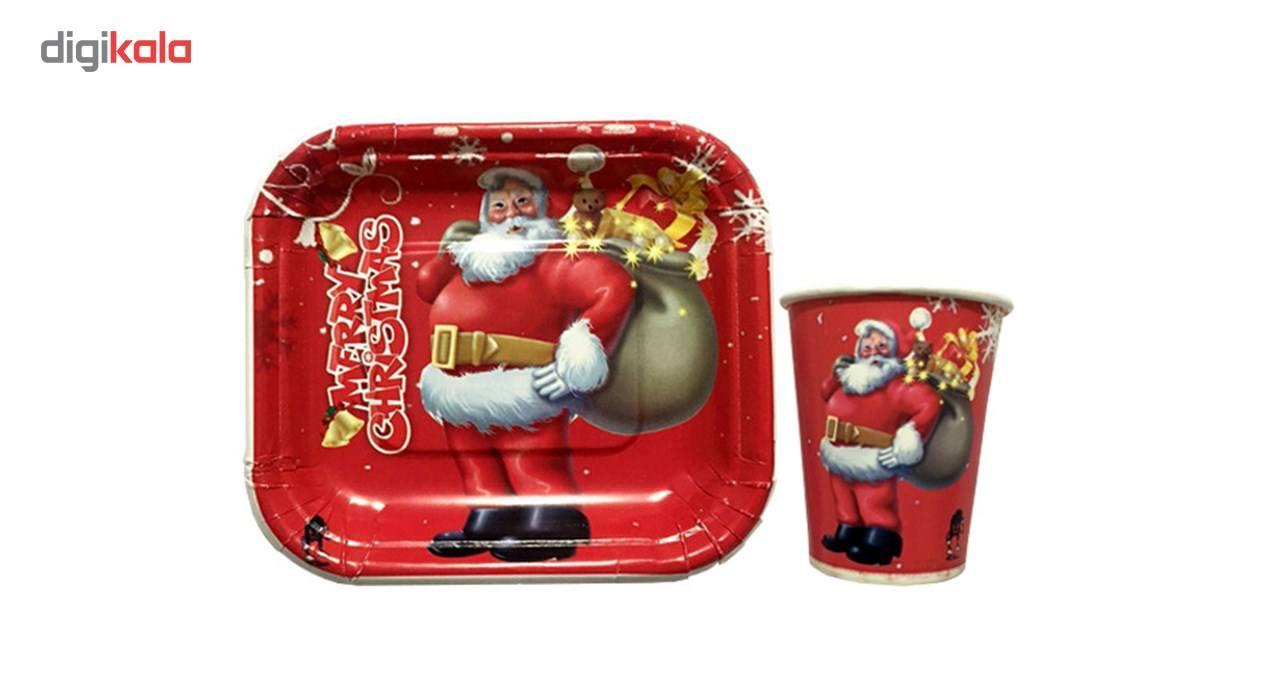 پیش دستی و لیوان یکبار مصرف سورتک طرح بابانوئل مجموعه 40 عددی main 1 1