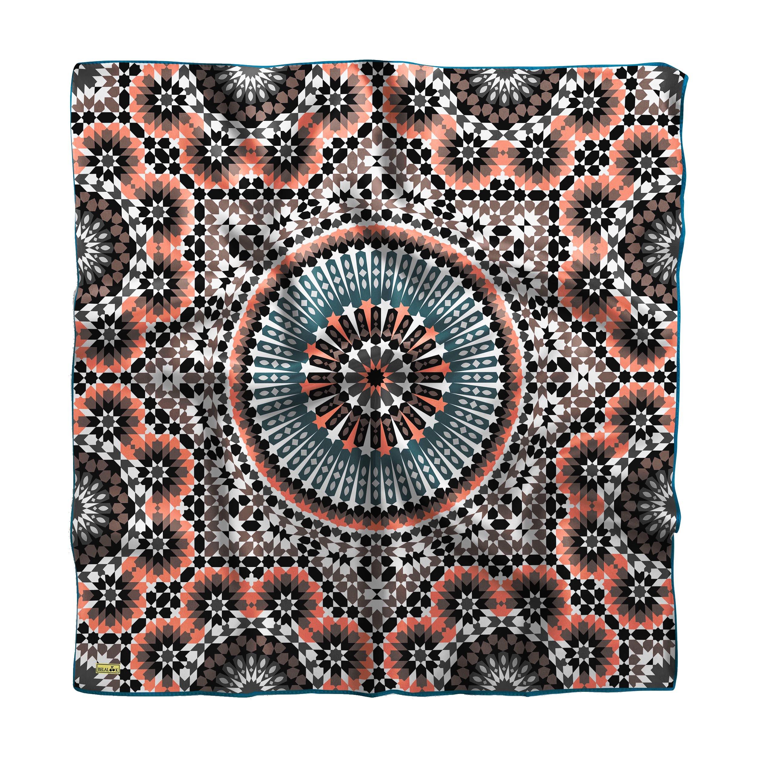 روسری زنانه بلالوک طرح کاشی سنتی