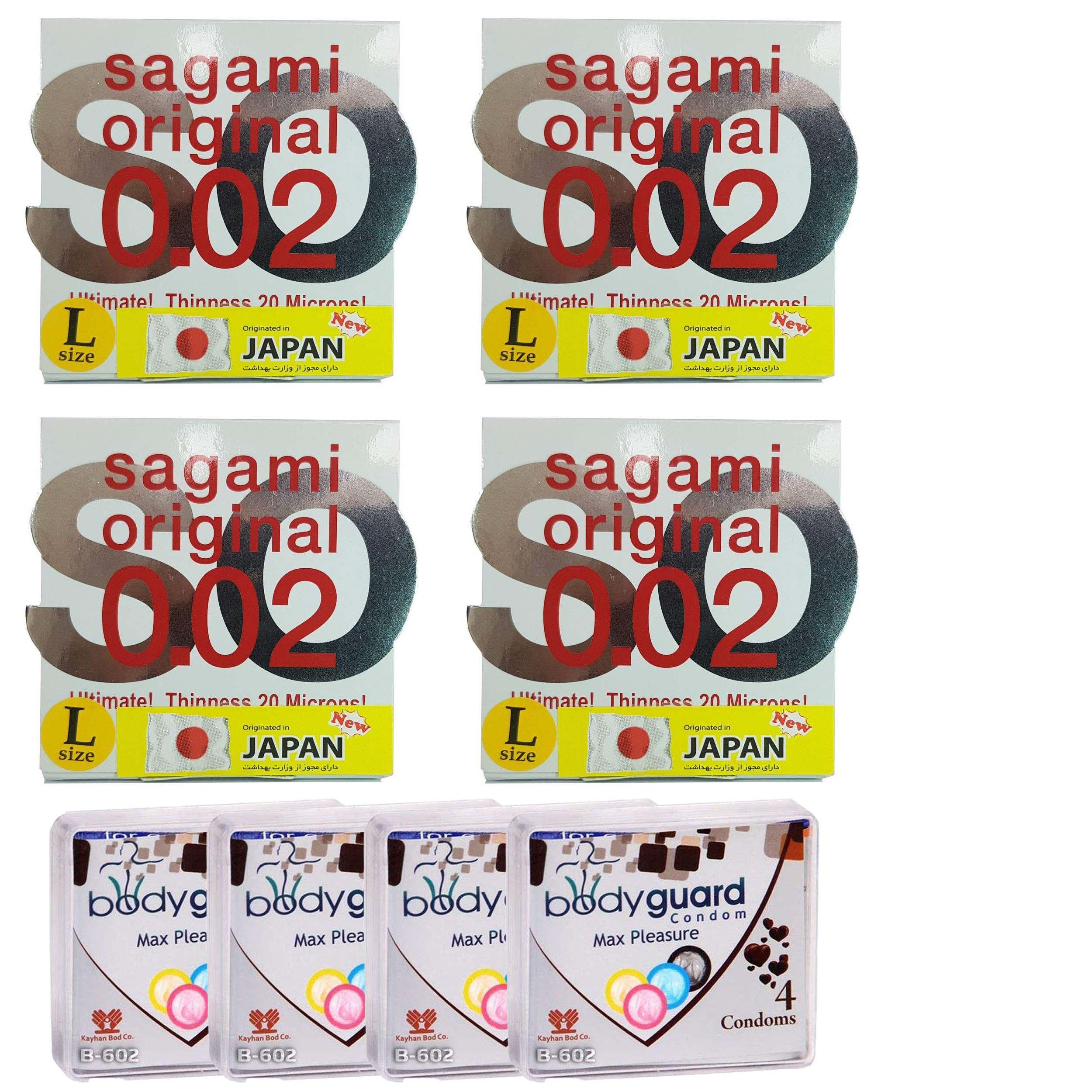 کاندوم ساگامی مدل لارج مجموعه 4 عددی به همراه کاندوم بادی گارد مدل مکس پلژر مجموعه 4 عددی