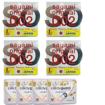 کاندوم ساگامی مدل لارج مجموعه 4 عددی به همراه کاندوم بادی گارد مدل کامفورت مجموعه 4 عددی
