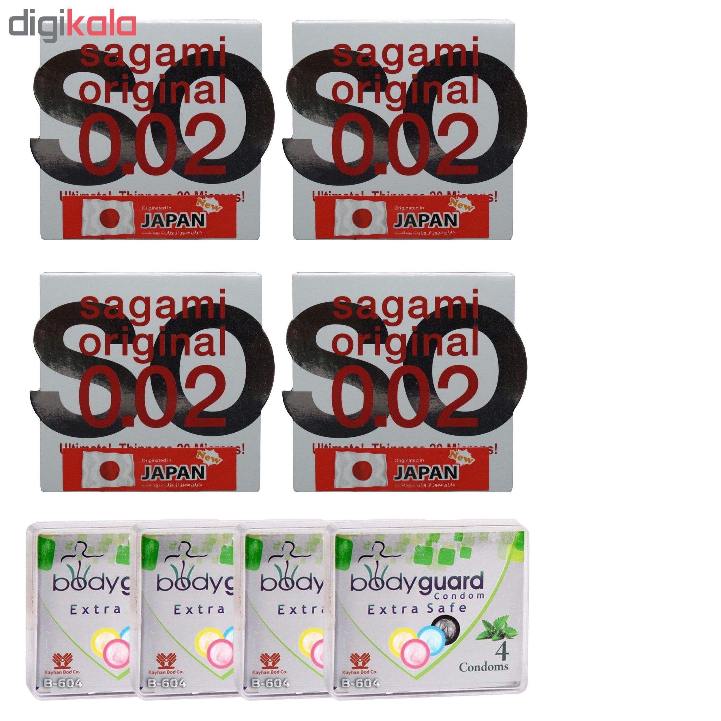 کاندوم ساگامی مدل نرمال مجموعه 4 عددی به همراه کاندوم بادی گارد مدل اکسترا سیف مجموعه 4 عددی