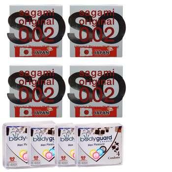 کاندوم ساگامی مدل نرمال مجموعه 4 عددی به همراه کاندوم بادی گارد مدل مکس پلژر مجموعه 4 عددی