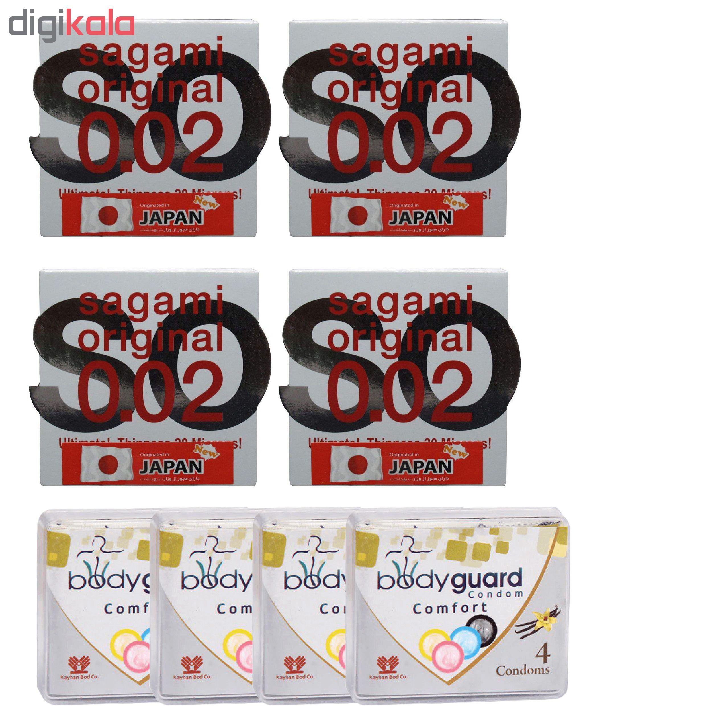 کاندوم ساگامی مدل نرمال مجموعه 4 عددی به همراه کاندوم بادی گارد مدل Comfort مجموعه 4 عددی