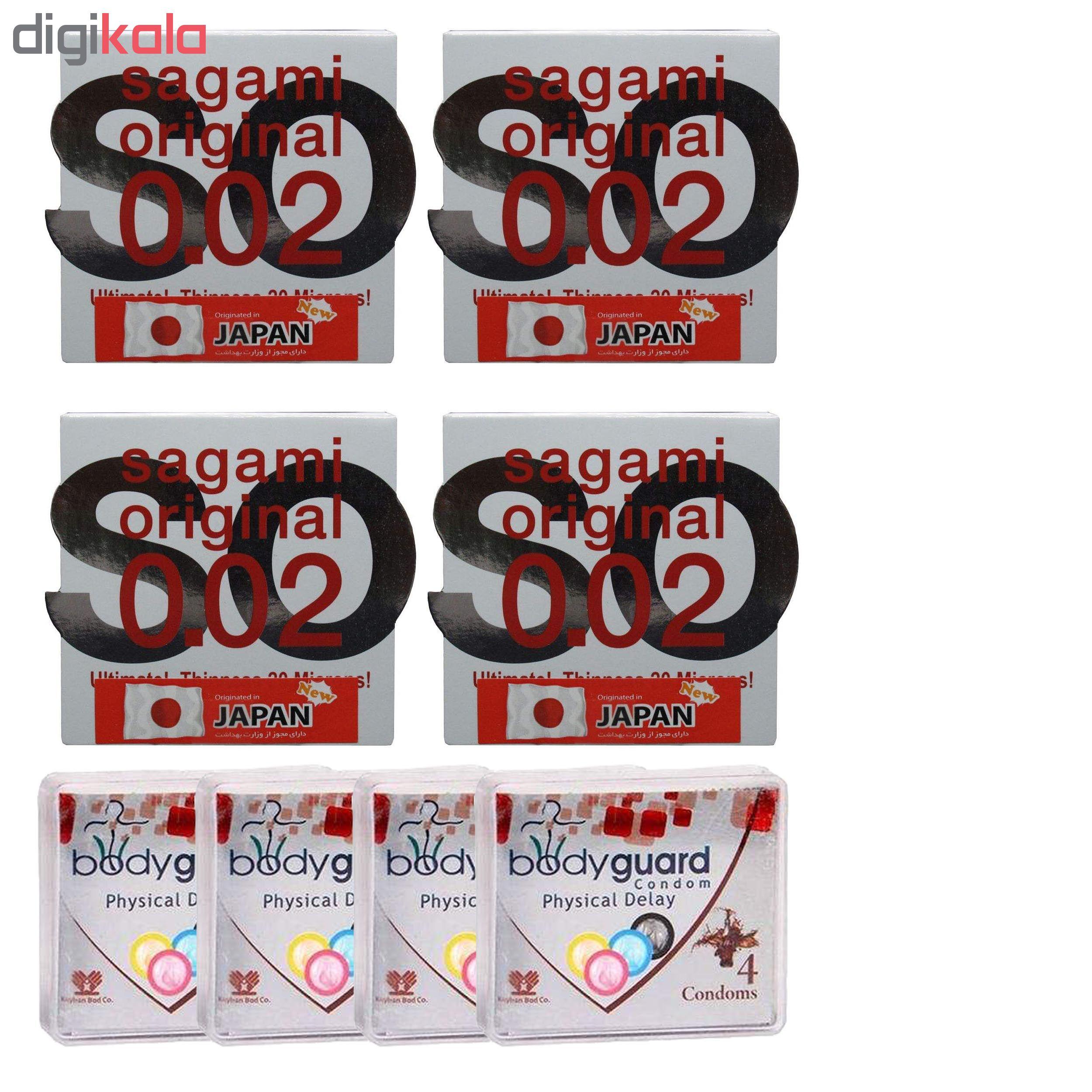 کاندوم ساگامی مدل نرمال مجموعه 4 عددی به همراه کاندوم بادی گارد مدل Delay مجموعه 4 عددی