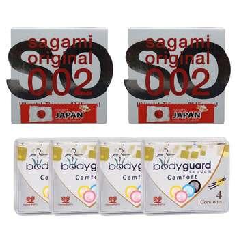کاندوم ساگامی مدل نرمال مجموعه 2 عددی به همراه کاندوم بادی گارد مدل Comfort مجموعه 4 عددی