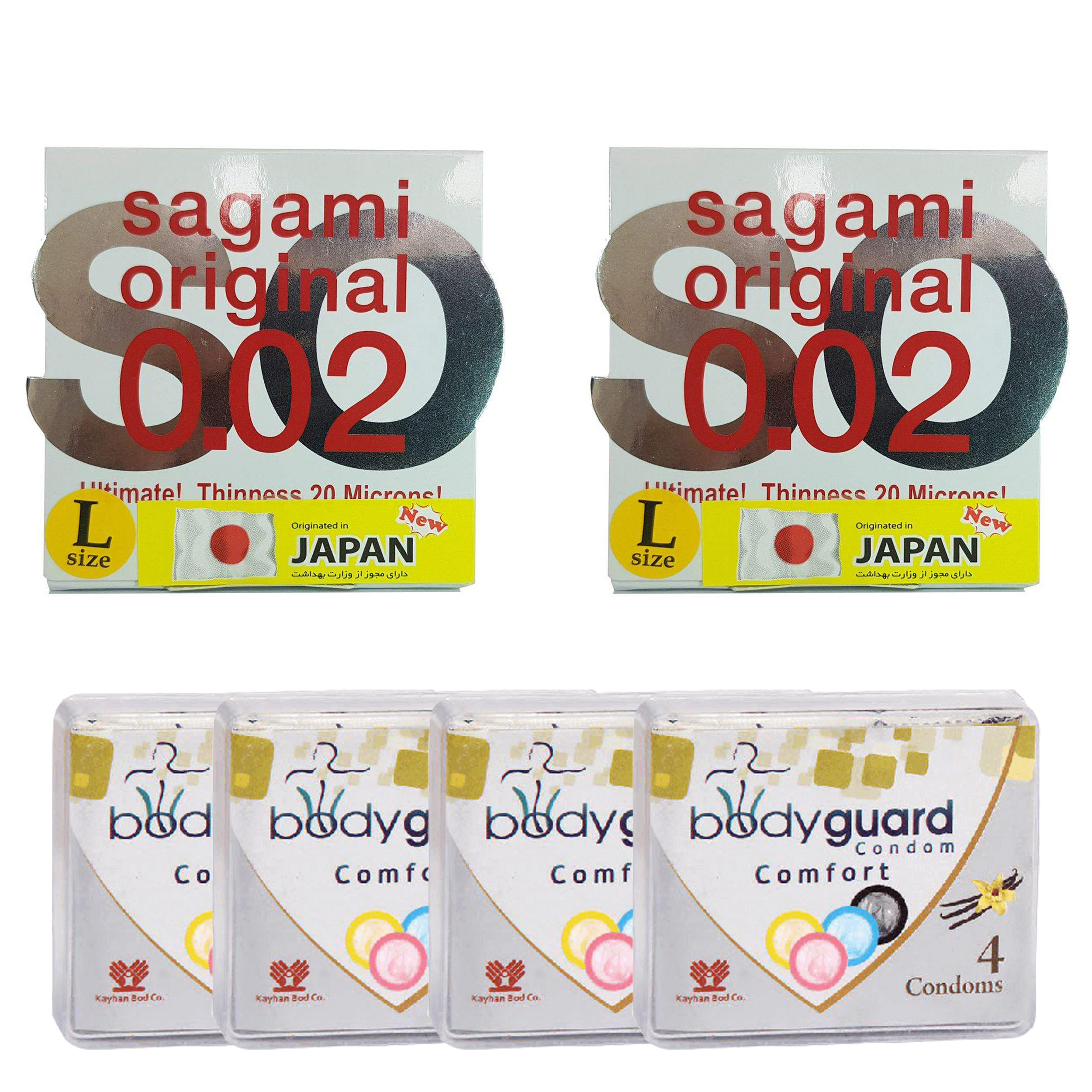خرید                      کاندوم ساگامی مدل لارج مجموعه 2 عددی به همراه کاندوم بادی گارد مدل کامفورت مجموعه 4 عددی