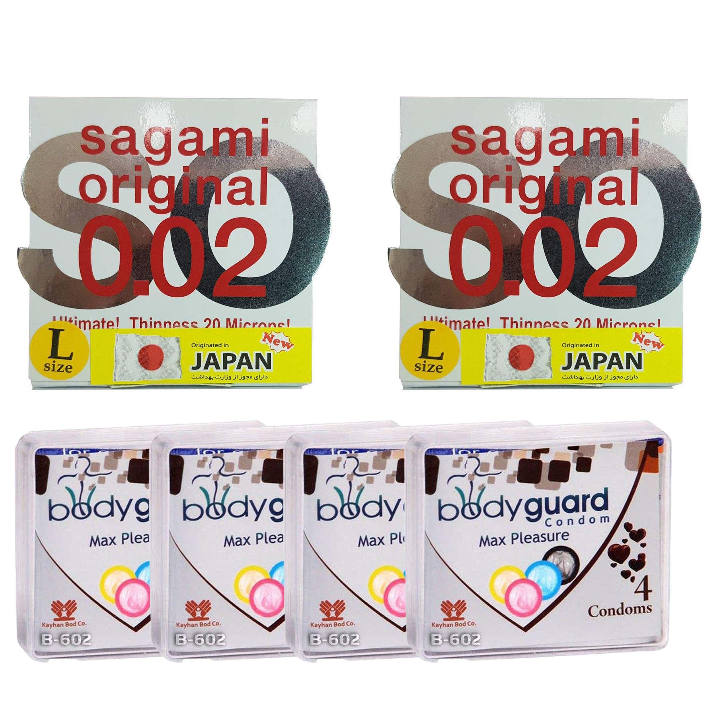 خرید                      کاندوم ساگامی مدل لارج مجموعه 2 عددی به همراه کاندوم بادی گارد مدل مکس پلژر مجموعه 4 عددی