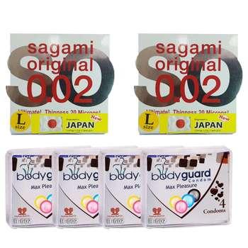 کاندوم ساگامی مدل لارج مجموعه 2 عددی به همراه کاندوم بادی گارد مدل مکس پلژر مجموعه 4 عددی