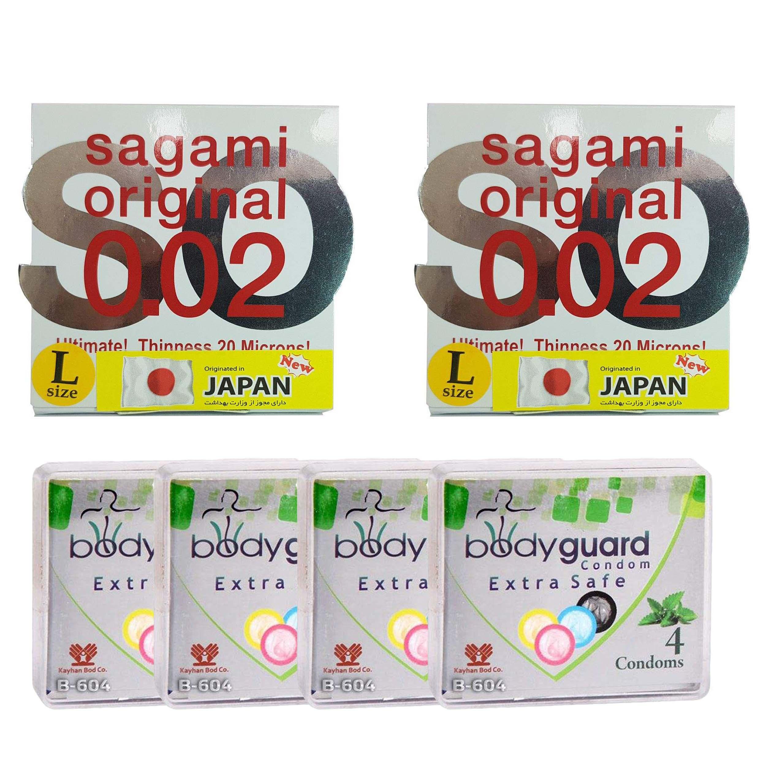 خرید                      کاندوم ساگامی مدل لارج مجموعه 2 عددی به همراه کاندوم بادی گارد مدل اکسترا سیف مجموعه 4 عددی